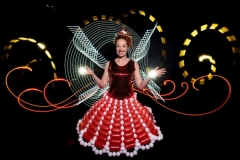 Animation light painting et robe en ballons